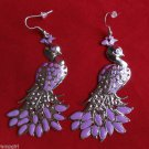 Large Silver Purple Metal Bird Peacock Earrings