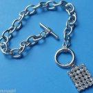 Silver Rhinestone Square Charm Bracelet