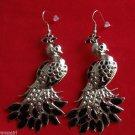 Large Silver Black Metal Bird Peacock Earrings
