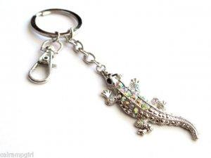 Shimmering Rhinestone Alligator Keychain Key Ring Clasp