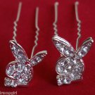 Playboy Bunny crystal Rhinestone Hair sticks set 2