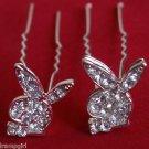 Playboy Bunny crystal Rhinestone Hair sticks set 2