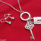 Lock and Key Necklace earrings set silver circle ring