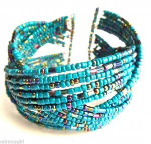 Teal Beaded Cuff Bracelet