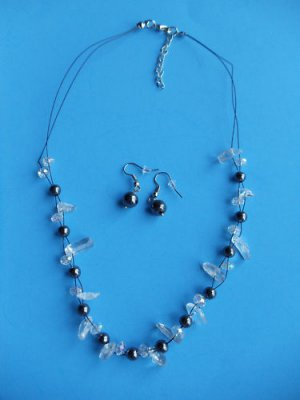 Semi Precious Necklace clear floating beads