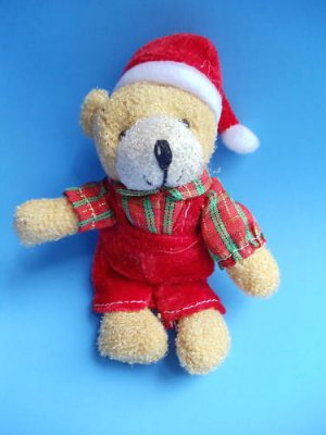 "Christmas Teddy Bear keychain 5"" plaid shirt overalls"