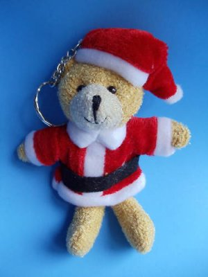 "Christmas Teddy Bear keychain 5"" santa suit"
