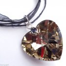 Topaz Glass Heart Prism Necklace