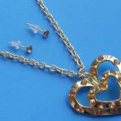 Double Gold Heart Necklace Earrings set