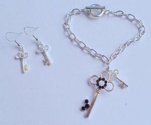 Silver Key Charm Bracelet earrings set Black stones