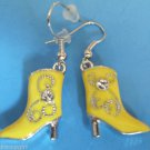 Yellow Cowboy Boot Earrings crystal stones Western