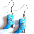 Blue Cowboy Boot Earrings crystal stones Western