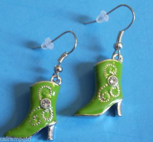 Green Cowboy Boot Earrings crystal stones Western