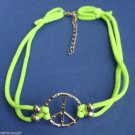 Green Peace Sign Nylon Stretch Choker necklace