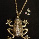 Gold Frog Necklace Earrings Set Shimmering Crystal rhinestones