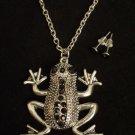 Silver Frog Necklace Earrings Set Black Crystal rhinestones