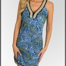 Floral Trim Blue Swirl Dress Size S M L
