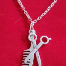 Silver Scissors comb Necklace Hairdresser stylist