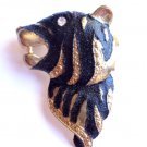 Tiger Pin Brooch Black and gold crystal stone
