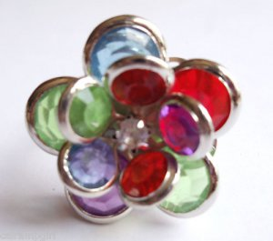 Multi color Flower Cocktail Ring Adjustable band