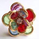 Gold Multi color Flower Cocktail Ring Adjustable band