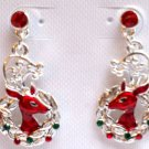 Christmas Earrings Rudolph Reindeer Holiday crystal