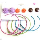 Earrings 6 Pair colorful hoops flower button studs blue pink green orange brown
