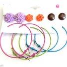 Earrings 6 Pair colorful hoops flower button studs blue pink green orange brown