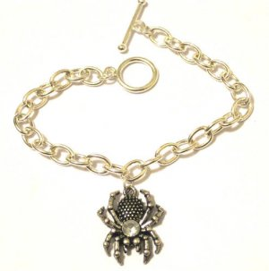 Spider Charm Bracelet Haloween Sterling Silver Finish
