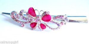 Pink Butterfly Ribbon Swirls Claw Hair Clip 5&quot;
