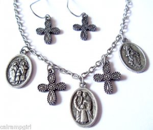 Antique Silver Saints medals Cross Necklace earrings