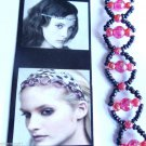 Soft Elastic headband Seed Beaded pink gray