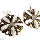 Large White Glitter Flower Earrings Antique Gold