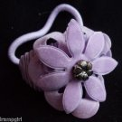 Purple Suade Flower Ponytail Holder