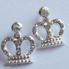 Silver Princess Crown Earrings Crystal rhinestones