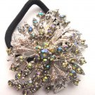 Green Designer Ponytail Holder / Brooch Crystal stones