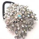 Clear Designer Ponytail Holder / Brooch Crystal Stones