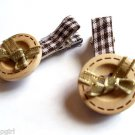 Brown Plaid Buttons Salon hair Clip set 2 Claws