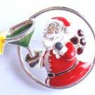 Christmas Pin Brooch Santa with Margarita crystals