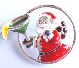 Christmas Pin Brooch Santa with Margarita crystals