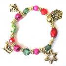 Gold Christmas Charm bracelet Tree present snowflake