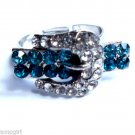 Belt Buckle Cocktail Ring adjustable blue crystals