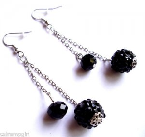 Black Fireball and crystal Earrings 2""