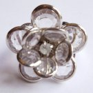 Silver Clear Flower Cocktail Ring Adjustable band