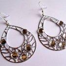 """2"""" Tear drop silver Clear gemstones Fashion Earrings"""