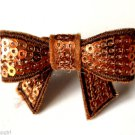 Brown Topaz Sequins Flashy Bow Cocktail Ring adjustable band silver