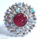 Pink Crystal Glitter Circle Cocktail Ring adjustable
