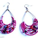 Pink Oval Beaded semi precious stone Earrings 3""