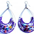 Purple Oval Beaded semi precious stone Earrings 3""