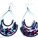 "Black Oval Beaded semi precious stone Earrings 3"""